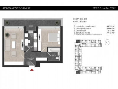 Apartament cu 2 camere tip 2D3 Balcon - Atria Urban Resort