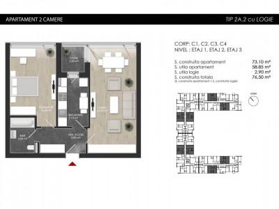 Apartament cu 2 camere tip 2A2 Logie- Atria Urban Resort